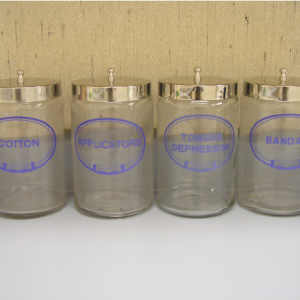 Sundry Jars, Glass, Labeled, Tongue Depressor Only