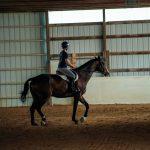 Girl rides horse